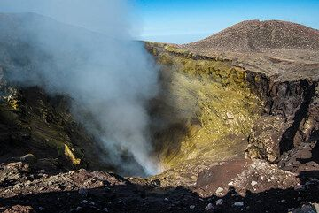 Unusually good weather and wind conditions allowed our group on the recent tour to Etna and Stromboli to make a complete loop around Etna's summit craters on 11 Oct 2014.