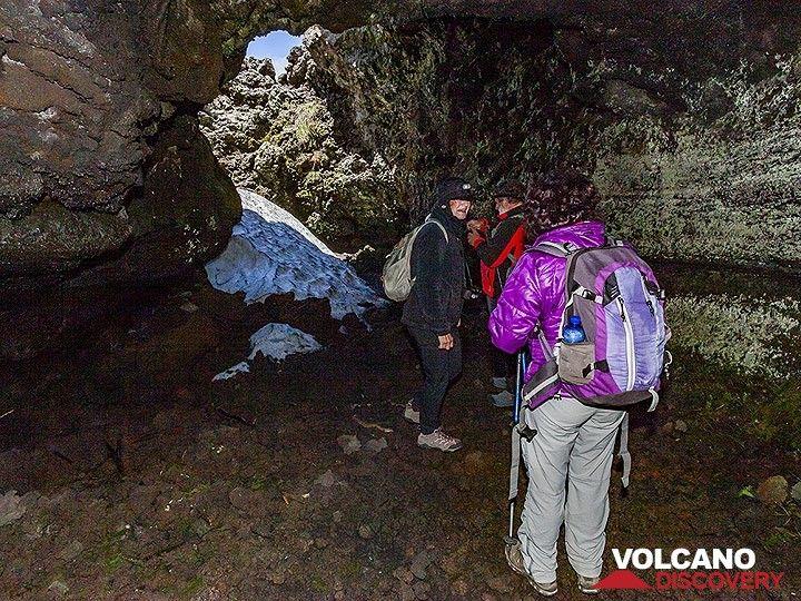 Ice left from last winter in the grotta del lampioni. (Photo: Tobias Schorr)