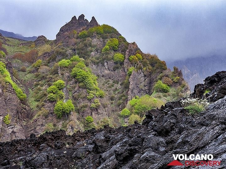"""Older and younger dykes and lavas in the valley """"Valle del Bove"""" at Etna volcano. (Photo: Tobias Schorr)"""