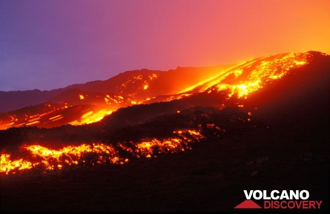 Large lava flow descending from Bocca Nuova crater (Etna volcano, 1999) (c)