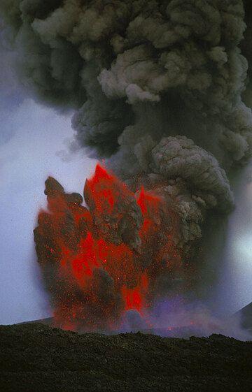Pulsating lava fountain producing an ash cloud rising several kilometers. (Photo: Tom Pfeiffer)
