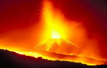 All is red... The erupting crater and lava flows in between.  (c)