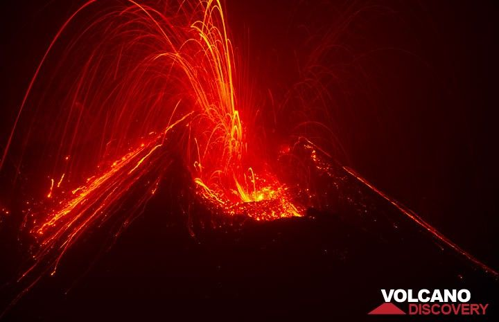 Strombolian explosion at night from the new cone inside Bocca Nuova crater of Etna volcano in Aug 2012 (Photo: Tom Pfeiffer)