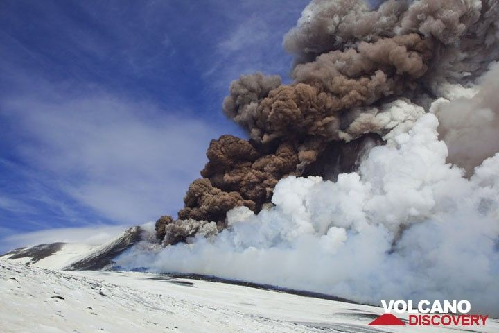 After having reached its peak, the eruption wanes quickly, but a dense brown ash plume still rises high from the fissure vent. (Photo: Tom Pfeiffer)
