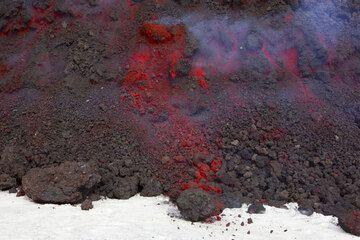 Advancing aa lava flow on fresh snow. (Photo: Tom Pfeiffer)