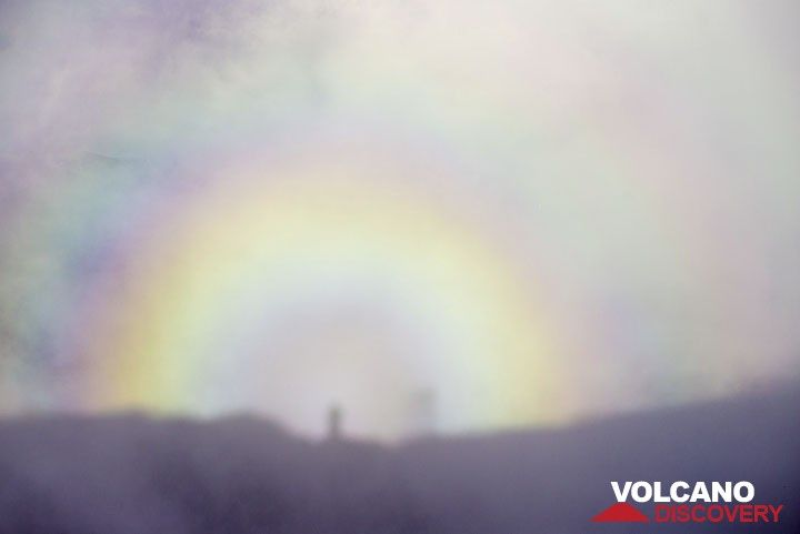 Rainbow from the mist with our shadows from the setting sun. (Photo: Tom Pfeiffer)