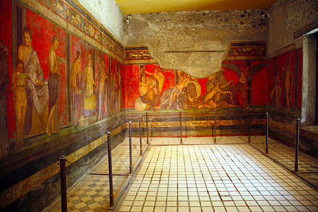 Intense wall frescos in the Villa dei Misteri, Pompeii (Photo: Tom Pfeiffer)