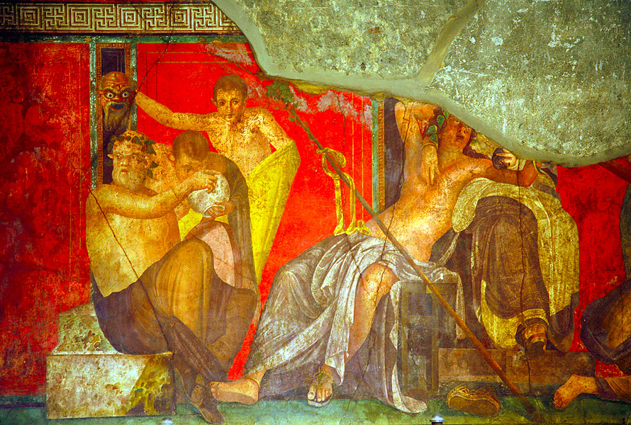 Wall painting in the House of Mysteries in Pompeii (Casa dei Misteri) (Photo: Tom Pfeiffer)
