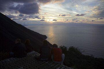 Sunset mood on Stromboli volcano on a clear autumn day (c)