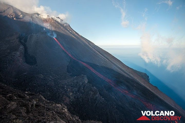 Stromboli's morning shadow over the Sciara and the sea. (Photo: Tom Pfeiffer)