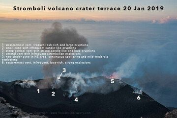 Annotated image showing the location of the vents observed active and producing eruptions this evening. (c)