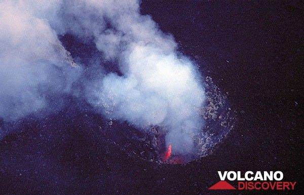 Glowing lava inside the central crater vent of Stromboli volcano (c)