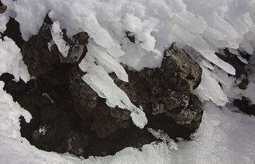 Wind shapes melting ice. (c)