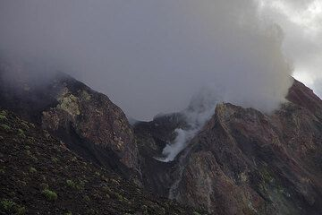 Stromboli's steaming crater seen from our viewpoint. (c)