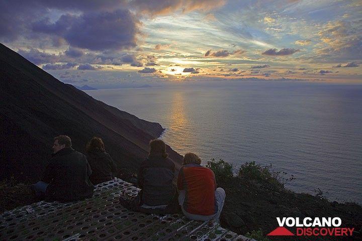 Sunset at Stromboli and the Sciara del Fuoco. (c)