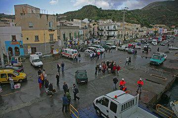 Leaving from the port of Lipari island, the main island of the Eolian Islands. (c)