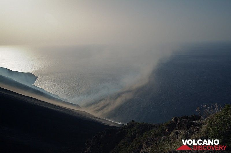 The Sciara del Fuoco with strong Scirocco wind, blowing ash and steam down the slope. (Photo: Marco Fulle)