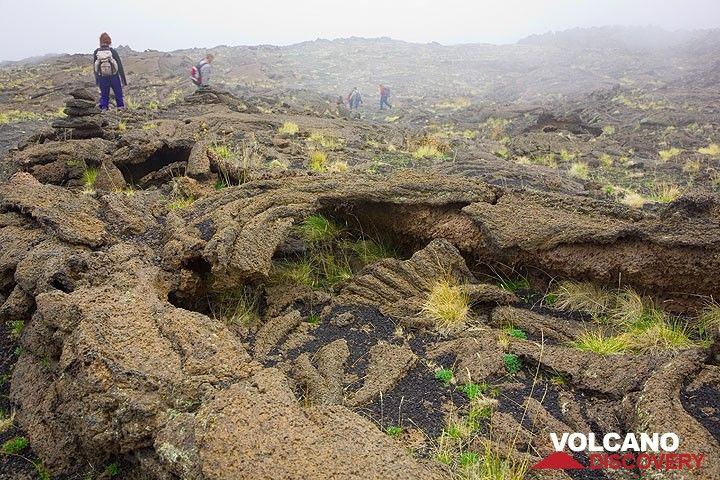 The colapsed thin roof of pahoehoe lava over a nice lava channel. (Photo: Tom Pfeiffer)
