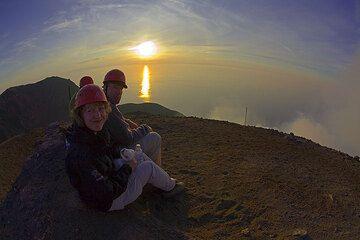 Sunset on the summit of Stromboli (Photo: Tom Pfeiffer)
