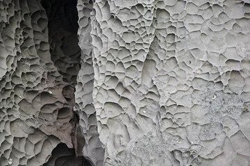 Surface patterns created by erosion and weathering of the basalt rock of Strombolicchio. (Photo: Tom Pfeiffer)