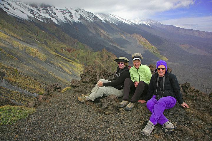 Sandra, Pat and Linda on the rim of the Valle del Bove (Photo: Tom Pfeiffer)