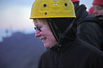 Sandra happy to see her first volcano. (Photo: Tom Pfeiffer)