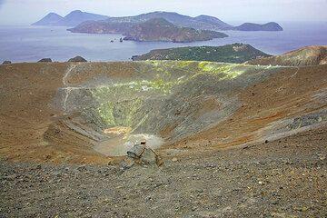 Panorama over the crater of Fossa volcano, Vulcano Island. Lipari and Salina islands in the background. (Photo: Tom Pfeiffer)