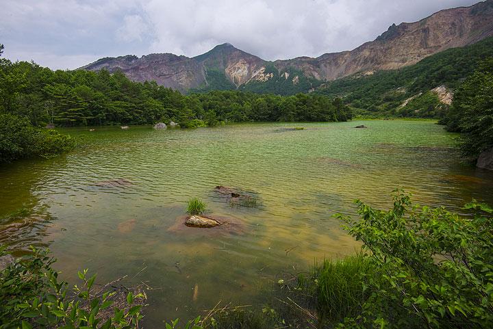 Lake in the 1888 landslide scar of Bandai volcano (Photo: Tom Pfeiffer)
