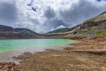 At the shore of Okama crater lake of Zao volcano, NE Honshu, Japan (Photo: Tom Pfeiffer)