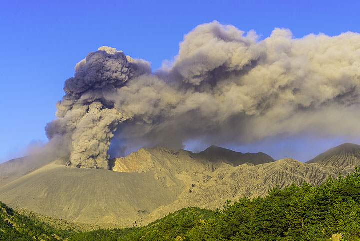 Sakurajima's Showa crater erupting a steady ash column seen in the early morning. (Photo: Tom Pfeiffer)