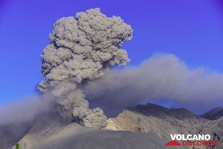 Small ash emission from Showa crater. (Photo: Tom Pfeiffer)