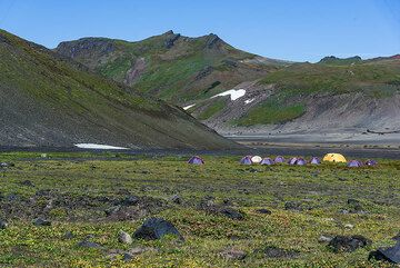 Campsite in the caldera of Gorely volcano. (Photo: Tom Pfeiffer)