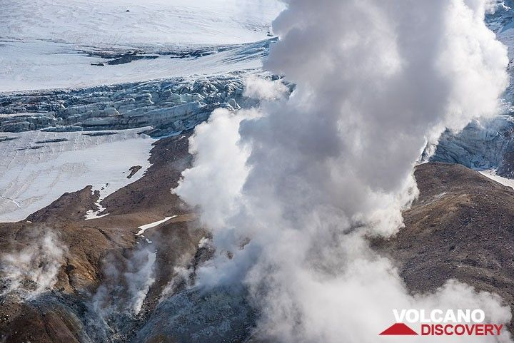Steam plume and crevasses of the glacier behind. (Photo: Tom Pfeiffer)