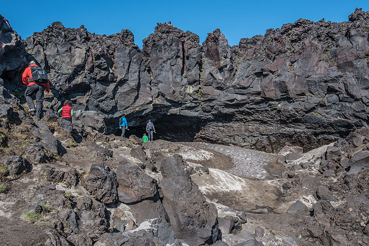 A large lava cave at the base of Gorely (Photo: Tom Pfeiffer)