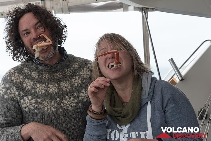 """Plus, of course, (but only outside on deck), """"all you can eat"""" Kamchatka crab. Livia is very happy! (Photo: Tom Pfeiffer)"""