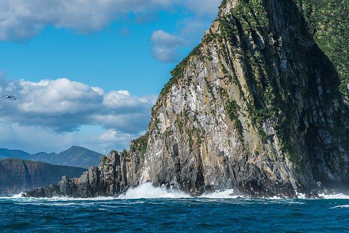 Volcanic rocks exposed in the cliffs (Photo: Tom Pfeiffer)
