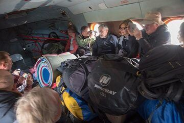 The helicopter is effectively a flying bus. We have everything we need (and more) for 3 days in a very remote area. (Photo: Tom Pfeiffer)