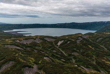 View over Karymsky Lake (Akademia Nauk volcano), shortly before entering the Karymsky caldera. (Photo: Tom Pfeiffer)
