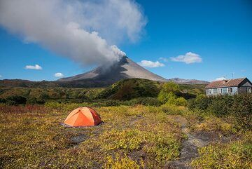 View of the volcano in the morning. The wind has changed and we're more or less under the ash and steam plume today. (Photo: Tom Pfeiffer)