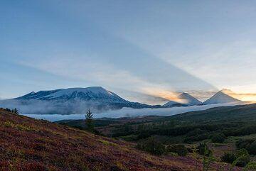 Sunrise view towards Ushkovsky volcano (l) and the peaks of Klyuchevskoy and Kamen volcanoes (r). (Photo: Tom Pfeiffer)