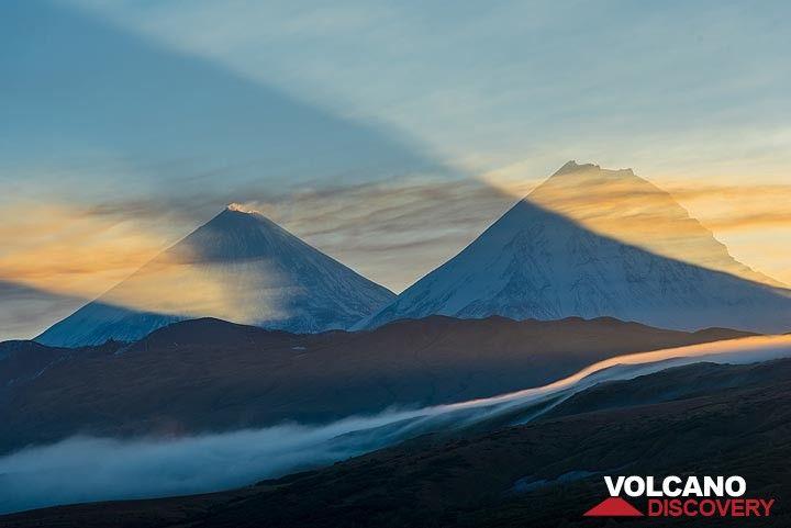 Shadows cast by Klyuchevskoy and Kamen volcanoes. (Photo: Tom Pfeiffer)