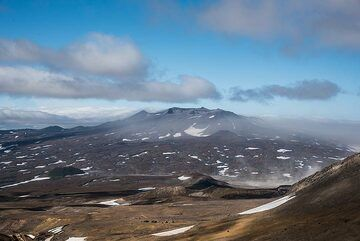 View towards the shield volcano of Gorely, Mutnovsky's active neighbor, within its caldera. (Photo: Tom Pfeiffer)