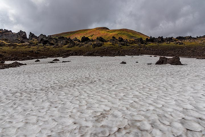 Small ice field at the foot of Gorely volcano. (Photo: Tom Pfeiffer)