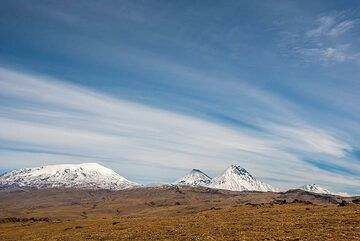 After climbing higher areas of the plateau, also Bezymianny volcano (r) is visible. (Photo: Tom Pfeiffer)