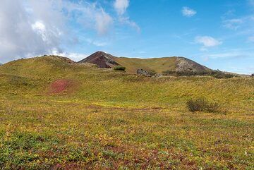 We have reached the tundra at around 1000 m elevation. Many cinder cones dot the area. (Photo: Tom Pfeiffer)