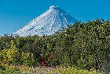 View towards Klyuchevskoy volcano from our hotel (Photo: Tom Pfeiffer)