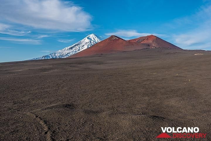 Looking back towards Tolbachik with one of the numerous ciner cones in teh foreground. (Photo: Tom Pfeiffer)