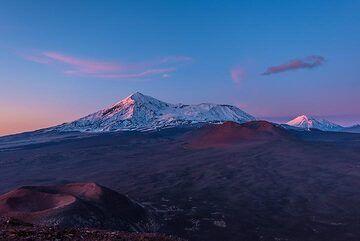 Sunset view of Tolbachik and Zimina volcanoes (Photo: Tom Pfeiffer)