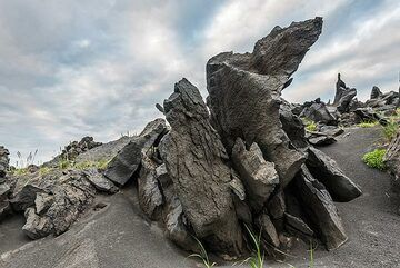 Spiny lava formations on the top of Taketomi cone. (Photo: Tom Pfeiffer)