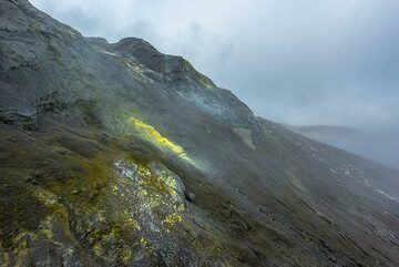 Yellow sulphur deposits on the slope of the summit cone (Photo: Tom Pfeiffer)